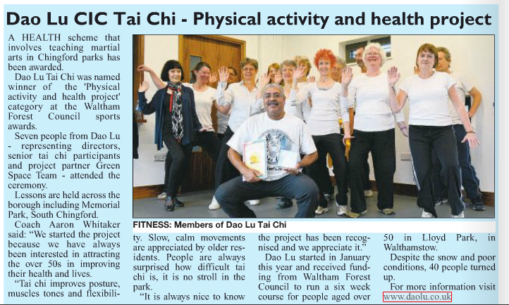 Senior Tai Chi Corner appears in the Chingford Times