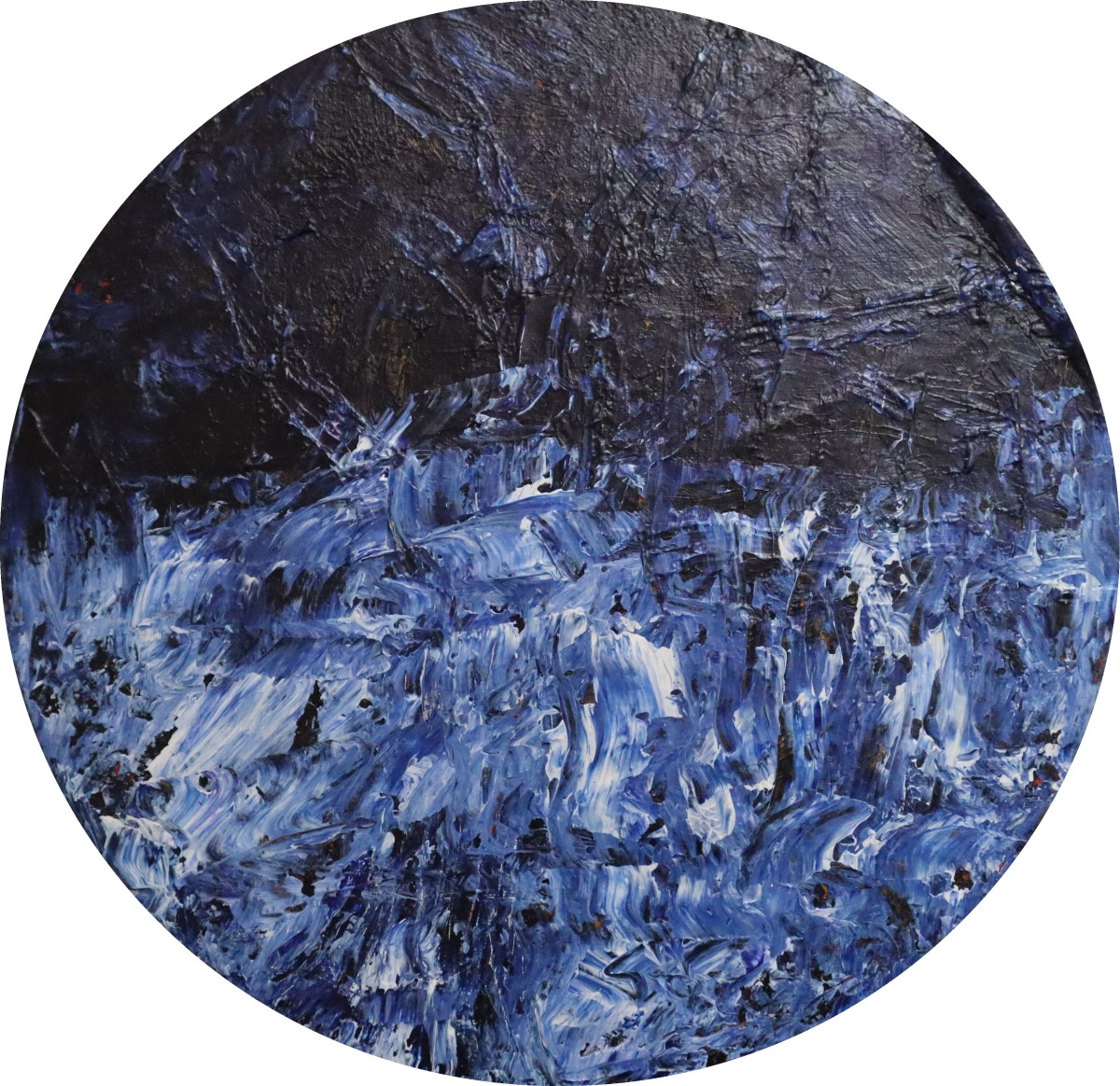 Abstract acrylic painting depicting stormy ocean waves with a dark sky