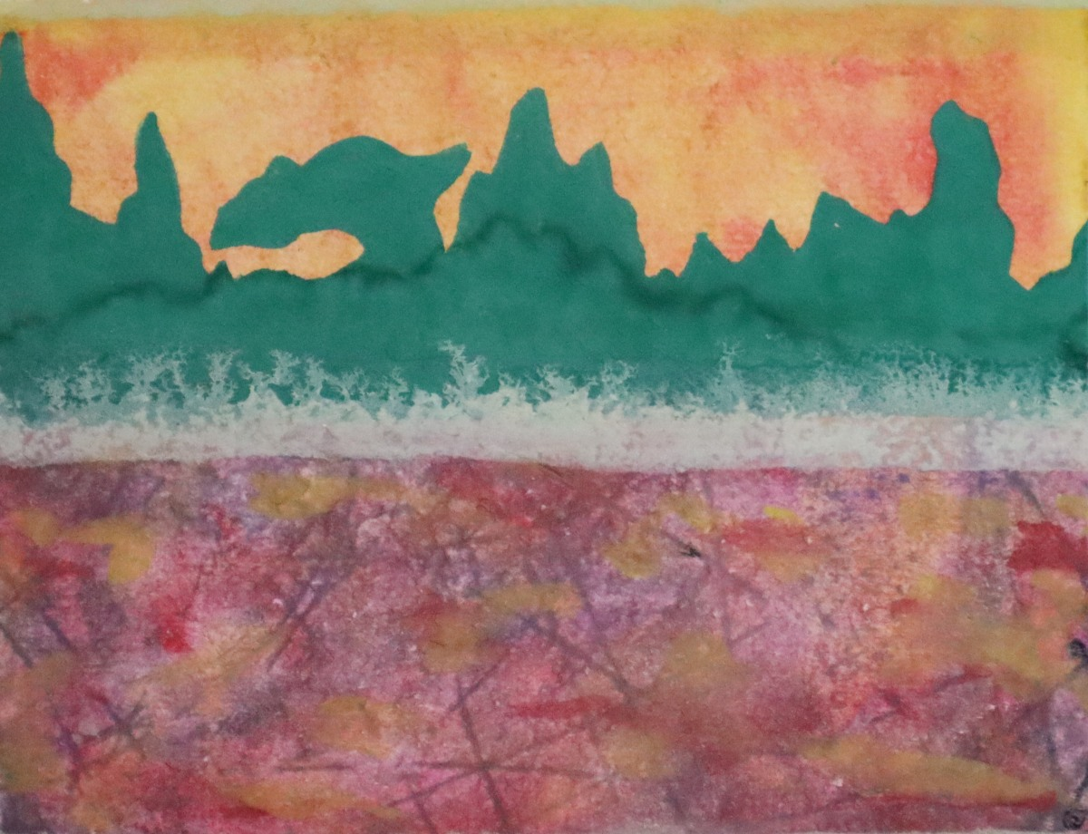Landscape painting with watercolours. Dark green spiky mountains and murky purple foreground with no clear detail other than feint black cross-cross hairs beneath the purple. The sky is a mixture of red and yellow.